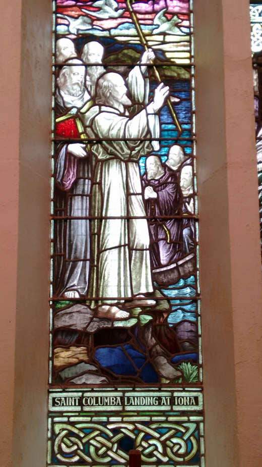 stianed glass window of St. Colmcille at Iona.