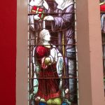 Baptism of Colmcille, stained glass window, Church of Ireland Churchill.
